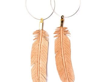 hand carved leather feather earrings - sterling silver hoops
