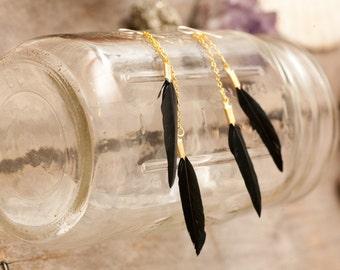 sale - sale - sale - long double black feather earrings