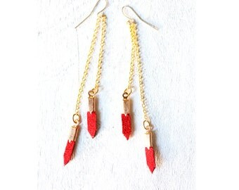 red hot summer - red leather earrings with gold colored chain