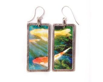 Koi fish - good luck - photo earrings