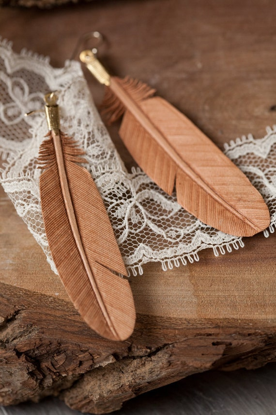 Hand carved leather feather earrings natural color