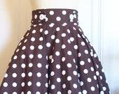 Brown and White polka dot Betty circle skirt