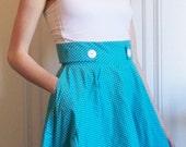 Blue and White small polka dot Betty circle skirt