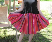 Multicolor striped gathered skirt