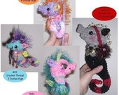 Digital PDF Seahorse Crochet Pattern  Four 3 to 10 Inch Stuffed Sea Horses Ornament Necklace