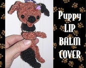 Dachshund PDF Crochet Pattern Lip Balm Chapstick Lipstick Cover Clip on Keychain by Peggytoes