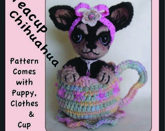 Digital PDF Crochet Pattern for TEACUP CHIHUAHUA by Peggytoes  Puppy Dog Toy Stuffed Animal Doll Tea Cup Mini Miniature Amigurumi