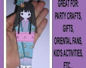 Adorable apanese Origami Bookmark Dolls in Digital PDF format Cut Out and Assemble in Color or B&W To Use With Your Own Papers