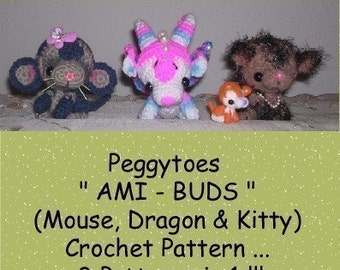 Dragon Cat Mouse Digital PDF Crochet Pattern  Ami-Buds Mini Animals Dolls by Peggytoes