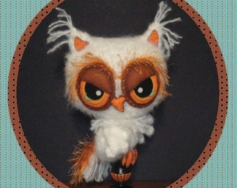 Owl Digital PDF Crochet Pattern Felt Eyes Candlestick Holiday Decor or Plush Stuffie Halloween Thanksgiving Christmas