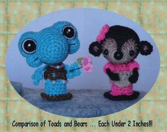 Digital PDF Bear Miniature Crochet Pattern and Bonus Woodland Cottage Paper Printable Pattern