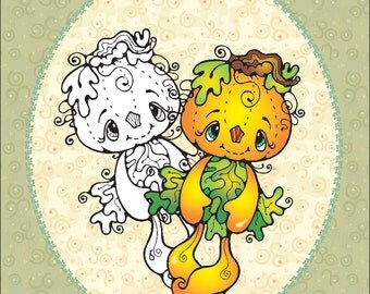 Digi Stamp Pumpkin Doll Digital Image Graphic Art Halloween for Scrapbooking and Cardmaking