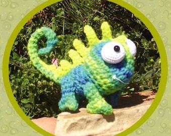 LEON the Chameleon Crochet Pattern in Digital PDF format Amigurumi Lizard Gecko Dragon Toy Doll Stuffy Reptile