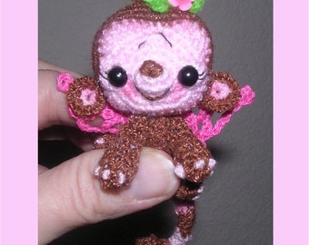 Digital Miniature Fairy Monkey Crochet Pattern Toy Collectible Peggytoes