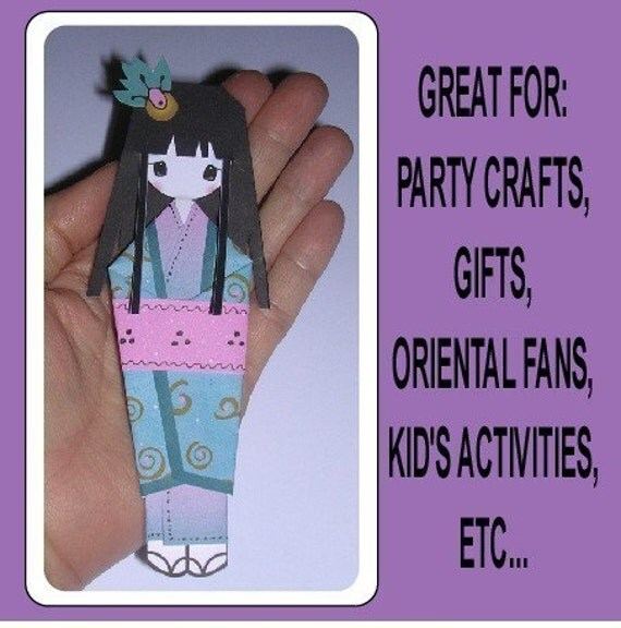 Japanese Origami Bookmark Dolls in Digital PDF format to Cut Out and Assemble in Color or B&W To Use With Your Own Papers