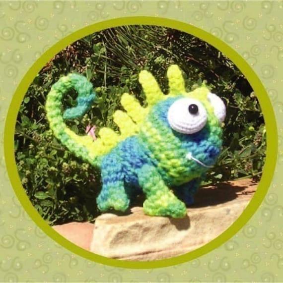 Chameleon Crochet Pattern Digital PDF Amigurumi by Peggytoes Lizard Gecko Dragon Toy Doll Stuffy Reptile