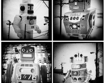 Miniature Sci Fi Robots through the viewfinder portfolio of four 5x5 TTV Photographs
