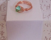 Copper Ring with Emerald Green Cut Glass Crystal - Size 8