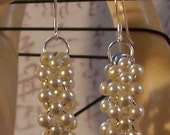 Pearl Bead Circle Earrings with Sterling Silver Ear Wires