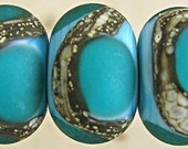 Teal on Turquoise Velvet - 11mm Silvered Ivory Etched Glass Lampwork Bead Set (6)