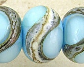 Handmade Lampwork Glass Bead Set of 6 Blue with Silvered Ivory Web Accents Small 11x7mm Retro Sky