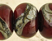 Handmade Lampwork Glass Beads Set of 6  Deep Red Brown with Silvered Ivory Web Small 11x7mm Chestnut