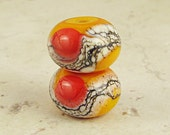 Orange and Red Handmade Glass Lampwork Bead Pair Small 11x7mm Warm Fire