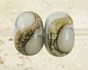 Lampwork  Glass Bead Pair with Organic Silvered Ivory Web Small 11x7mm Gray