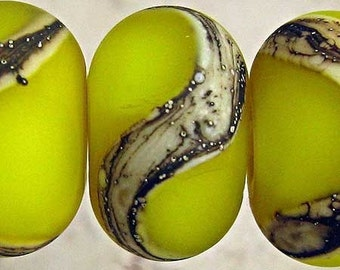 Handmade Yellow Lampwork Glass Bead Set 6 Organic Frosted Etched Small 11x7mm Lemon Drops Velvet