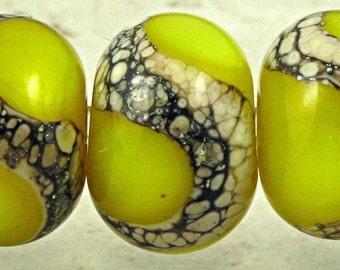 Yellow Handmade Lampwork Glass Beads Set of 6 Organic Webbed Small 11x7mm Lemon Drops