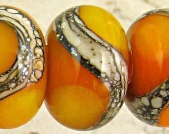 Handmade Lampwork Glass Bead Set of 6 Small 11x7mm SRA Silvered Ivory Organic Web Orange