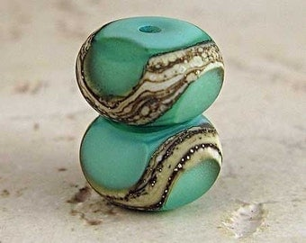 Green Handmade Glass Lampwork Bead Pair Silvered Ivory Swirls with Etched Finish Small 11x7mm Celadon Velvet