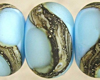 Blue Lampwork Glass Beads with Etched Finish and Silvered Ivory Webbed Accent  Set of 6 11x7mm Retro Sky Velvet