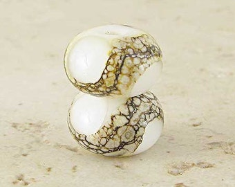 Handmade Glass Lampwork Bead Pair with Silvered Ivory Organic Web Small 11x7mm White