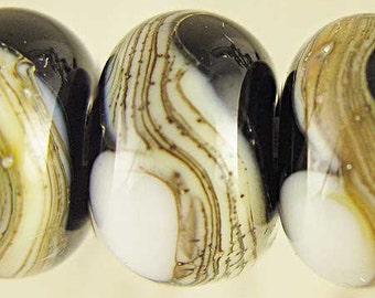 Black and White Lampwork Bead Set, Lampwork Glass, Glass Bead,  Rondelle Beads, Webbed Silvered Ivory,  6 Glossy 11x7mm Tuxedo