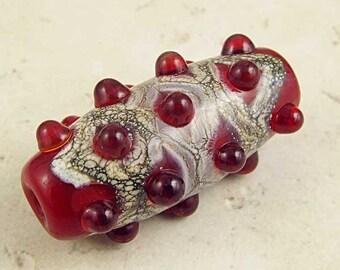 Artisan Handmade Lampwork Glass Bead Focal Ruby Red Jewel Organic