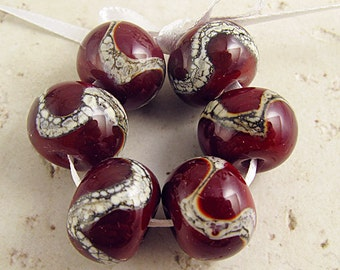 Handmade Red  Lampwork Glass Bead Set of 6 14x11mm Webbed Silvered Ivory