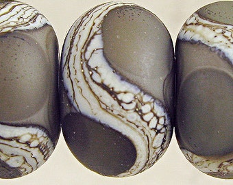 Gray Lampwork Glass Bead Set of 6 Silvered Webbing with Etched Frosted Finish 11x7mm Dark Gray Velvet