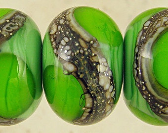 Handmade Lampwork Glass Bead Set of 6 with Silvered Ivory Organic Web Small 11x7mm Spring Green