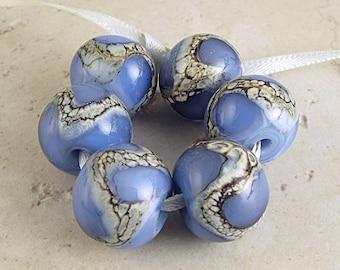 Blue Handmade Lampwork Glass Bead Set of 6 14x11mm Glacier