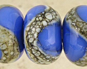 Handmade Lampwork Glass Bead Set of 6 with Organic Silvered Ivory Web Small 11x7mm French Blue