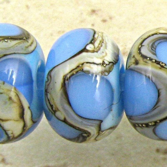 Handmade Lampwork Glass Spacer Bead Set of 6 Small 11x7mm Blue on Sky