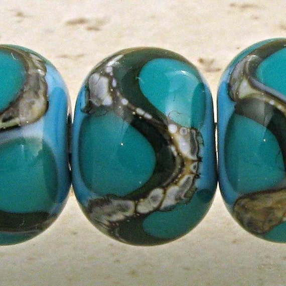 Blue Lampwork Glass Beads Set of 6 Small 11x7mm Teal on Turquoise