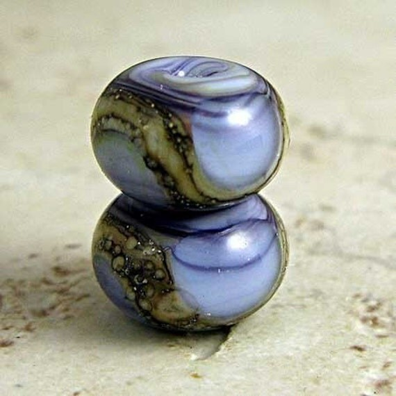 Purple Glass Lampwork Bead Pair Small 11x7mm Amethyst