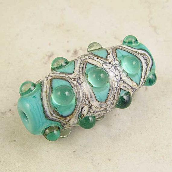 Celadon Green Lampwork Glass Bead Handmade Organic Focal with Glassy Bumps