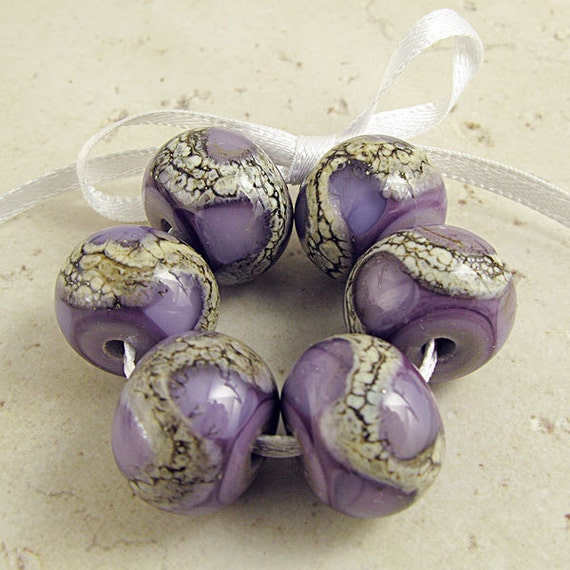 Lampwork Glass Beads Purple Violet Handmade Set of 6 Organic Webbed Silvered Ivory 14x11mm Amethyst