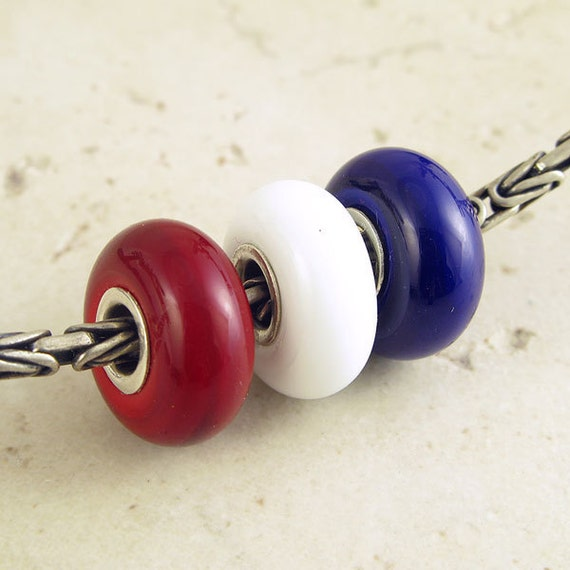 Red White and Blue Glass Lampwork European Charm Beads Big Hole for Bracelets