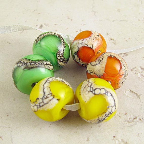 Glass Bead Set of 6 Handmade Lampwork Lemon Yellow Lime Green Tangerine Orange 14x11 mm Citrus Spash
