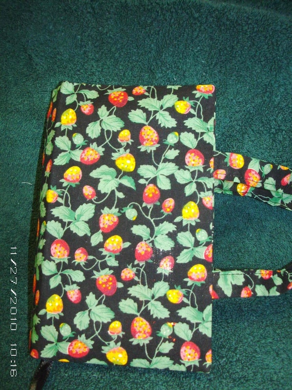 CLEARANCE - FREE SHIPPING - Strawberries on Black Themed Fabric - with or without Handles