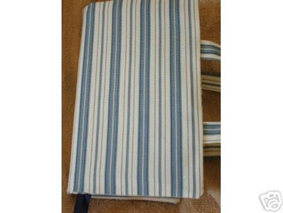 Fabric Book Covers With Handles : Wedgewood blue stripe canvas fabric paperback book cover